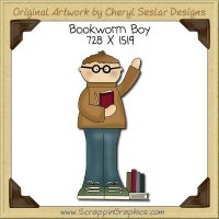 Bookworm Boy Single Clip Art Graphic Download
