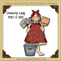 Cleaning Lady Single Graphics Clip Art Download