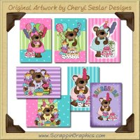 Celebration Bear Cards Collection Printable Craft Download