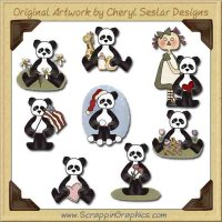 Sweet Panda Collection Graphics Clip Art Download