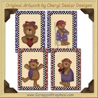 Red Hat Bear Sampler Card Collection Printable Craft Download
