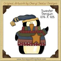 Sweater Penguin Single Clip Art Graphic Download