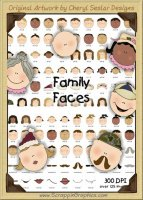 Family Faces Graphics Clip Art Collection