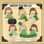 Barefoot Beth Irish Lass Limited Pro Clip Art Graphics Collection