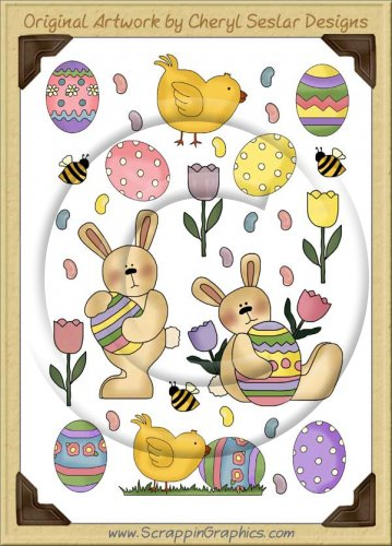 Reseller - Easter Wishes Sticker Page Clip Art Graphics
