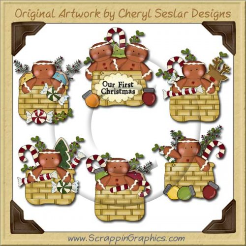 Gingerbread Christmas Baskets Clip Art Download