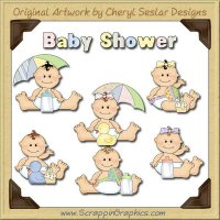 Sweet Baby Baby Shower Limited Pro Clip Art Graphics