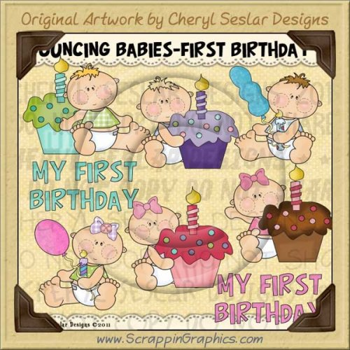Bouncing Baby First Birthday Limited Pro Clip Art Graphics