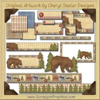 Woodland Bear Web Set Graphics Clip Art Download