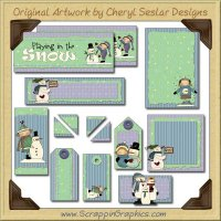 Mr. Snowman Journaling Delights Digital Scrapbooking Graphics Clip Art Download