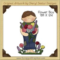 Flower Boy Single Clip Art Graphic Download