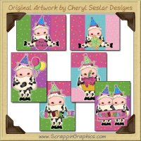Birthday Cows Sampler Card Printable Craft Download