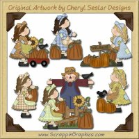 Patchwork Girls Pumpkin Patch Limited Pro Graphics Clip Art Down