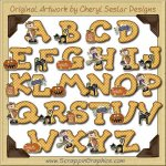 Halloween Annie Alphabet & Numbers Clip Art Download