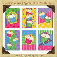 Bright Cupcake Cards Collection Printable Craft Download
