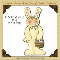 Easter Bunny Kid Single Clip Art Graphic Download