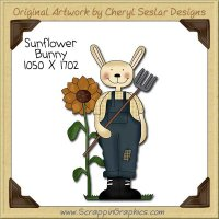 Sunflower Bunny Single Clip Art Graphic Download