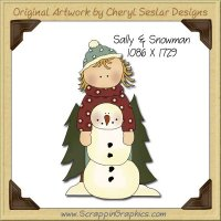 Sally & Snowman Single Graphics Clip Art Download