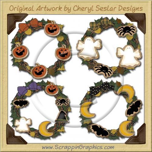 Halloween Cookie Wreaths Limited Pro Graphics Clip Art Download