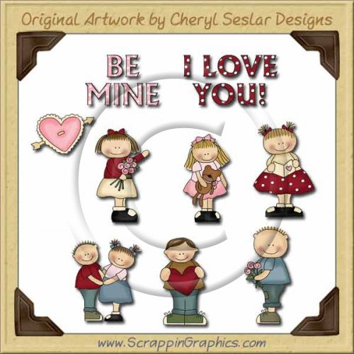 Wee Folk Valentine Kids Graphics Clip Art Download
