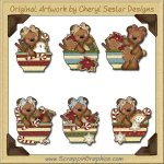 Raggedy Bears Christmas Bowls Graphics Clip Art Download