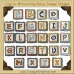 Country Quilt Alphabet & Numbers Clip Art Download