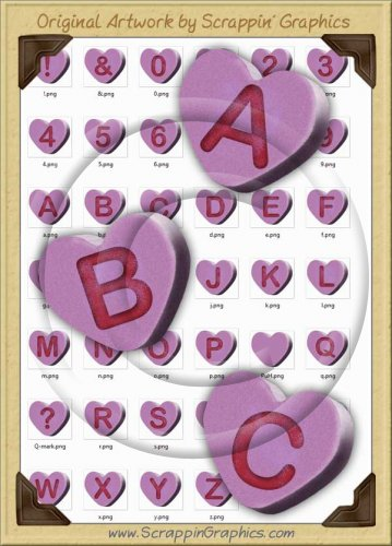 3D Purple Conversation Hearts Letters & Numbers Clip Art Graphics