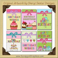 Whimsical Birthday Cards Collection Printable Craft Download