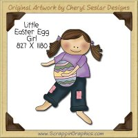 Little Easter Egg Girl Single Clip Art Graphic Download