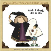Witch & Ghosty Single Graphics Clip Art Download