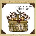 Candy Cane Basket Single Graphics Clip Art Download