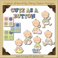 Cute As A Button Collection Graphics Clip Art Download