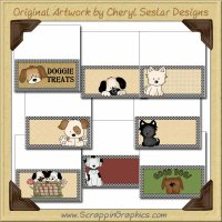 Playful Pups Bag Toppers Collection Graphics Clip Art Download