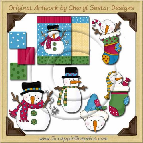 Bright Snowmen Limited Pro Graphics Clip Art Download