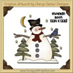 Snowman Moon Single Graphics Clip Art Download
