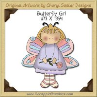 Butterfly Girl Single Clip Art Graphic Download