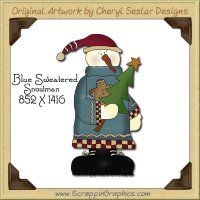 Blue Sweater Snowman Single Graphics Clip Art Download