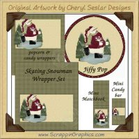 Skating Snowman Wrapper Set Printable Craft Collection Graphics