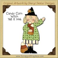 Candy Corn Witch Single Clip Art Graphic Download