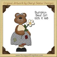 Bumpkin Bear Girl Single Clip Art Graphic Download