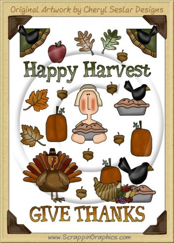 Reseller -Happy Harvest Sticker Page Clip Art Graphics