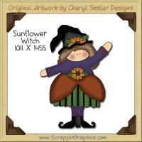 Sunflower Witch Single Clip Art Graphic Download