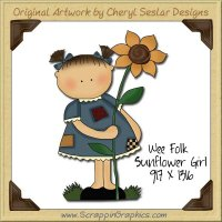 Wee Folk Sunflower Single Graphics Clip Art Download