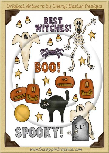 Reseller -Spooky Ooky Sticker Page Clip Art Graphics