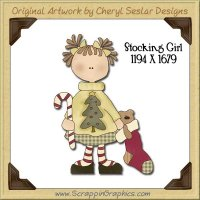 Stocking Girl Single Graphics Clip Art Download