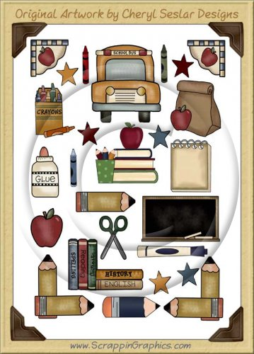 Reseller -School Days Sticker Page Clip Art Graphics