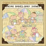 Bouncing Babies Shower Limited Pro Clip Art Graphics
