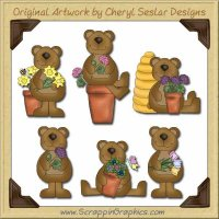 Bloomin' Bears Graphics Clip Art Download