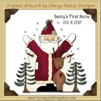 Santy's First Snow Single Graphics Clip Art Download