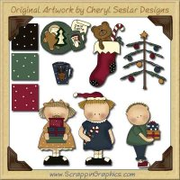 Wee Folks Merry Little Christmas Graphics Clip Art Download